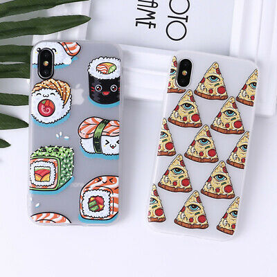 For iPhone 7 8 Plus X XR XS 11 Pro Max Sushi Cute Cartoon Cupcake Pizza Case