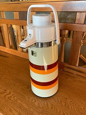 Vintage Retro Air Pump Dispenser Hot Cold Thermos COFFEE Stripes