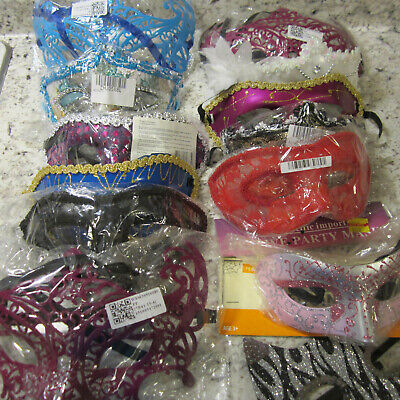 Mardi Gras Party Eye Mask, 13 items, various colors, styles & Shapes
