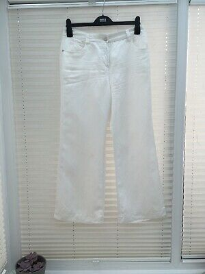 New Marks /& Spencer Linen Blend Wide Leg  Summer Holiday Trousers Size 10-12