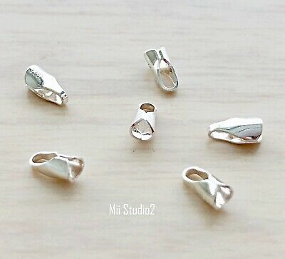 30pcs 2mm Leather End Cap 925 Sterling Silver T14s