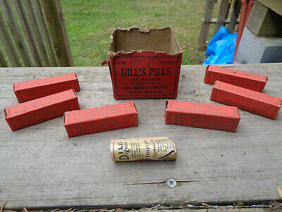 Lot of 5 DILL'S PILLS Liver Pills NORRISTOWN PA IN ORIGINAL ADVERTISING BOX