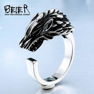 Stainless Steel Game Thrones Ice Wolf House Stark Of Winterfell Ring For Men