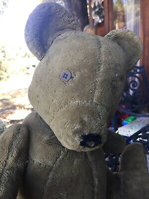 ANTIQUE Early TEDDY BEAR One Eye LOVED DEARLY Jointed Unique Arms Great Look Old