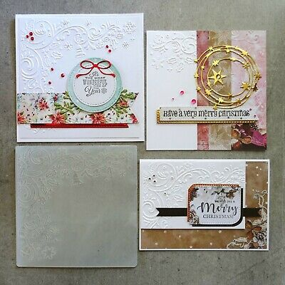 central craft EMBOSSING FOLDER SQ CHRISTMAS BELLS HOLLY CARDMAKING CCC-4076