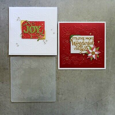 central craft EMBOSSING FOLDER SQ CHRISTMAS HOLLY FRAME CARDMAKING CCC-4075