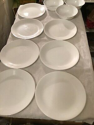 VINTAGE CORELLE..WINTER FROST WHITE..LOT OF 7 Salad Or Dinner PLATES, 3 Bowls
