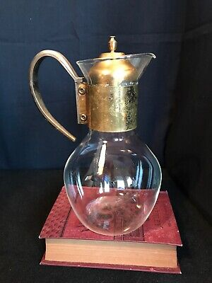 Vintage Tea Coffee Carafe Claret Jug Heat Proof Glass & Etched Brass Wedding B13