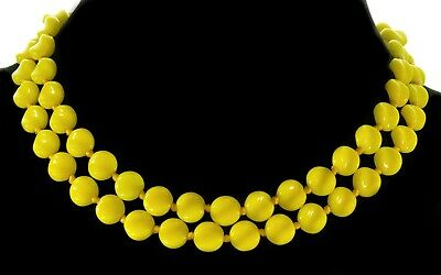 Vtg 40'S Canary Yellow Czech Or Italian 2-Strand Molded Glass Bead Necklace