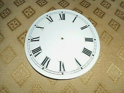 "Round Paper (Card) Clock Dial - 4 1/4"" M/T - Roman- GLOSS WHITE -  Parts/Spares"