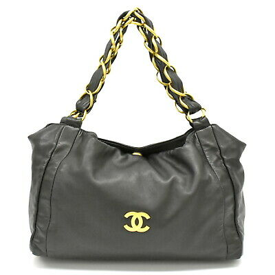 Authentic Chanel Leather Chain Shoulder Tite Hand Bag Black Gold Italy Coco CC