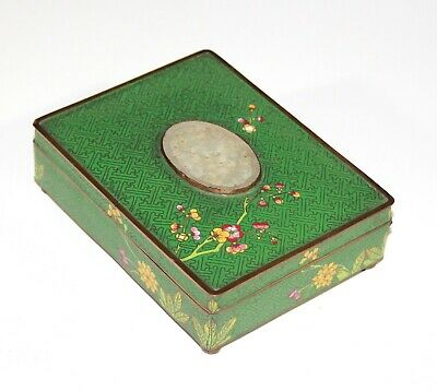 Late Qing Chinese cloisonne  jewelry trinket box inlaid with white jade 1180