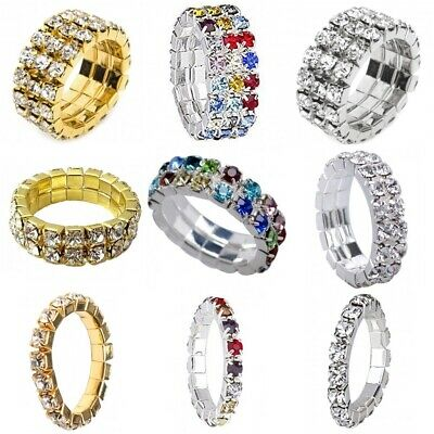 Silver Gold Diamante Crystal Stretch Elastic Toe Thumb Finger Ring 1 2 3 Row