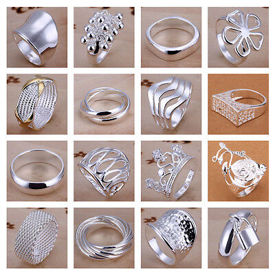 925 Silver Plt P 1/2 8 Band Finger Ring Men Ladies Statement Thumb Women Jewelry