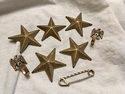 Vintage American Brass Look Stars, Eagle Hooks And Safety Pin