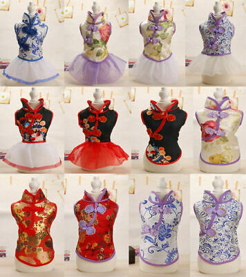 Pet Puppy Cat Tang Suit Chinese Style Skirt Clothes Teacup Dog Cheongsam Dress