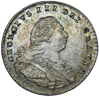 1800 MAUNDY PENNY 1d - GEORGE III BRITISH SILVER COIN - V NICE