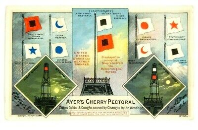 Victorian Antique Ayers Cherry Pectoral Medicine Card 1880s Lowell Massachusetts