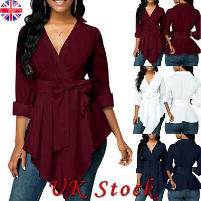 Womens Ruffle Frill Wrap Over V-Neck Shirt Ladies Long Sleeve Party Tops 10-18
