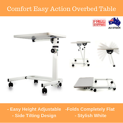 White Easy Action Flat Folding Overbed Table Meals, Laptop, Study, Work Aus