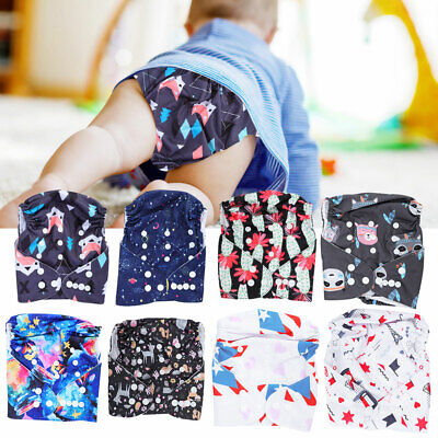 Washable Adjustable Reusable Baby Infant Cloth Diapers Pocket Nappies with Inser