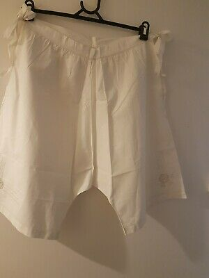 Antique Vintage Hand Sewn Bloomers Pantaloon Stepins Cotton Embroidery Roses