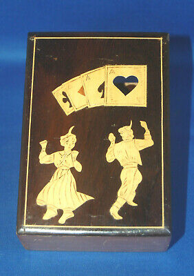 An antique Sorrento style playing card box, wooden, inlay and cut outs, unusual