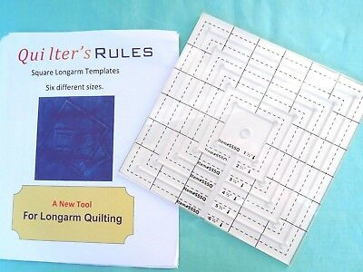 Long Arm Quilting Templates Rulers Set Of 6 Squares - High Shank Sewing Machines