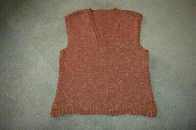 Vintage 1940s French Mens brown hand knitted wool tank top