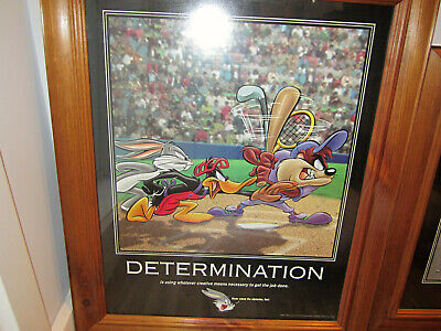 Vintage 1998 Looney Tunes Poster In Frame Large #Determination