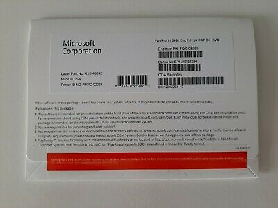 Genuine Microsoft 64Bit Windows 10 Pro OEM DVD/Disc + COA STICKER In Envelope