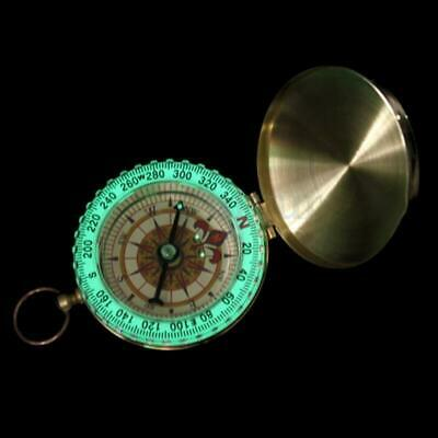 Pocket Compass Vintage Brass Hiking Camping Tool Noctilucent Night Portable