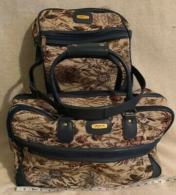 Vintage 2 Sasson Blue Tapestry Cloth Carry On Travel Tote Bags Luggage