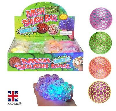 LED Light Up MESH SQUISHY BALLS Stress Relief Kids Party Bag Filler Toy N51504
