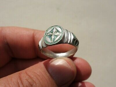 Byzantine/Middle Ages silver ring,carved,pattern inlay with colored glass cross