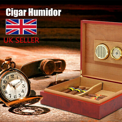 Cedar Wood Wooden Lined Cigar Humidor Humidifier + Hygrometer Case Box Brown Set