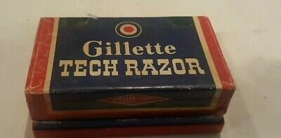 Vintage Gillette HEAVY GOLD TECH DE Safety Razor Set in Box 1940's