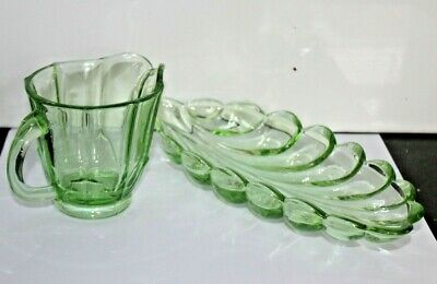 Vintage Art Deco  Green Glass, Leaf Trinket Dish, Nibbles Dish & Jug