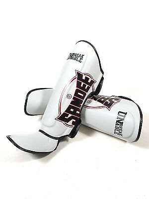 Sandee Shinguards Cotton Slip On Competition Shin Guard Red White Muay Thai