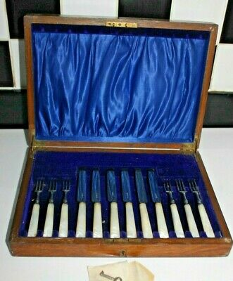 C 19th Edward & Frank Atkin Boxed Cutlery EPNS fruit forks ,  Mother of pearl