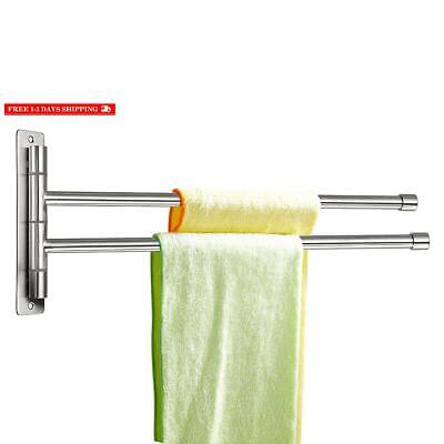 Sumnacon Wall Mounted Swing Towel Bar - Silver Stainless Steel Bath Towel Rod Ar