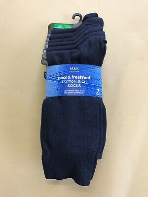 New M&S Cool & Fresh Feet Cotton Rich Socks 7 Pack Size 10-12,, 44-47-Navy