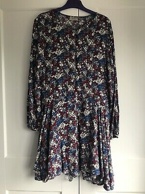 Next Girls Blue Ditsy Floral Print Long Sleeved Shorts Playsuit - Age 13 Ex Cond