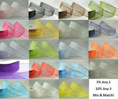 Organza Sheer Woven Edge Ribbon, Party Wedding, Decoration, Any Colour Any Width