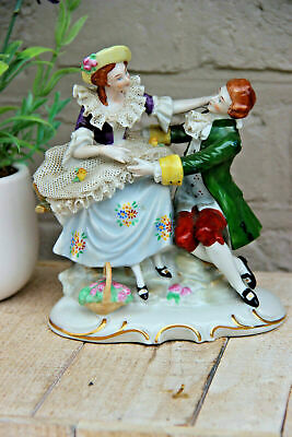 German porcelain lace group figurine romantic marked carl scheidig grafenthal