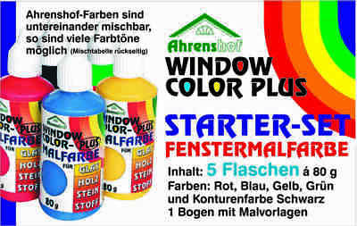 Ahrenshof Window Color Plus Starter-Set Fenstermalfarbe 5 Farben + Malvorlage