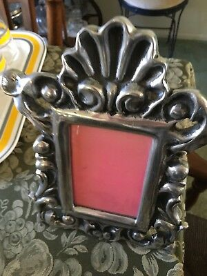 Vintage Ornate  Cast Aluminum Photo Picture Frame Easel Back