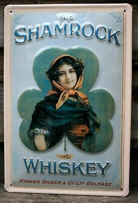 EMBOSSED 3D METAL  ADVERTISING SIGN 30x20cm PUB//BAR POWER/'S WHISKEY IRELAND