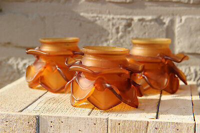 Set 3 antique French Amber colour Glass tulip shade replacement chandelier