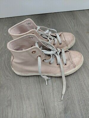 Pink Leather Hi Tops Converse Girls Size UK 1 EUR 33 Rose Gold Winter Trainers